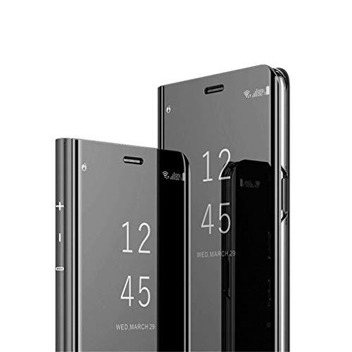 COTDINFOR Huawei Honor 10 Lite Spiegel Ledertasche Handyhülle Cool Männer Mädchen Slim Clear Crystal Spiegel Flip Ständer Etui Hüllen Schutzhüllen für Huawei Honor 10 Lite Mirror PU Black MX.