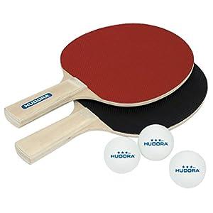 HUDORA Tischtennis-Set Match 2.0 – 2 Tischtennis-Schläger + 3 Tischtennis-Bälle – 76299