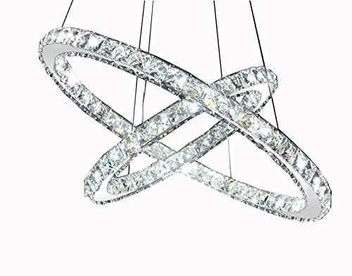 LED Pendelleuchte 3210-2 runde Ringe Luxus Design K9 Kristall chrom 2 Ringe Ø 70cm 50cm 60 W 4500K Energieeffizienzklasse: A+ LED Wohnzimmerleuchte Kronleuchte Pendelleuchte DeckenlampeDeckenstrahler LED Deckenleuchte Hängeleuchte Hängelampe LED lampe LED Leuchte Beleuchtung Einbauleuchte Wandleuchte Spot Lüster