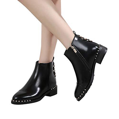 TianWlio Boots Stiefel Schuhe Stiefeletten Frauen Herbst Winter Rivet Flache Schuhe Stiefel Leder Stiefeletten Runde Kappe Reißverschluss Schuhe Weihnachten Schwarz 38