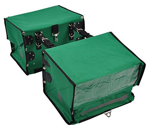 2 grüne Zeitungstaschen für Fahrrad und Zeitungswagen (Zeitungsroller) inkl. Befestigungsriemen für Fahrrad-Gepäckträger