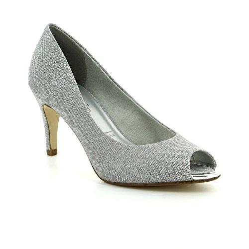 Tamaris Peeptoe Pumps 1-29302-20 Stiletto High Heel, Schuhgröße:40;Farbe:Silber