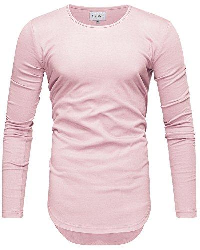 Crone Herren Langarm Shirt Longsleeve Slim Fit T-Shirt Leicht Oversize Basic Sweatshirt in vielen Farben (XL, Hellrosa)