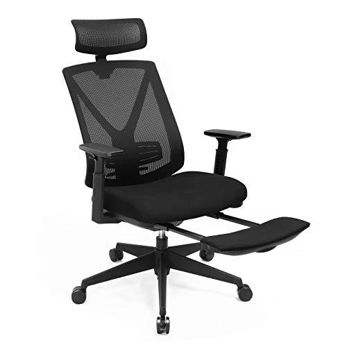 SONGMICS Ergonomischer Bürostuhl mit Fußstütze, Schreibtischstuhl mit Lordosenstütze, Verstellbare Kopfstütze und Armstütze, Höhenverstellung und Wippfunktion, Bis 150 kg Belastbar, schwarz OBN61BK