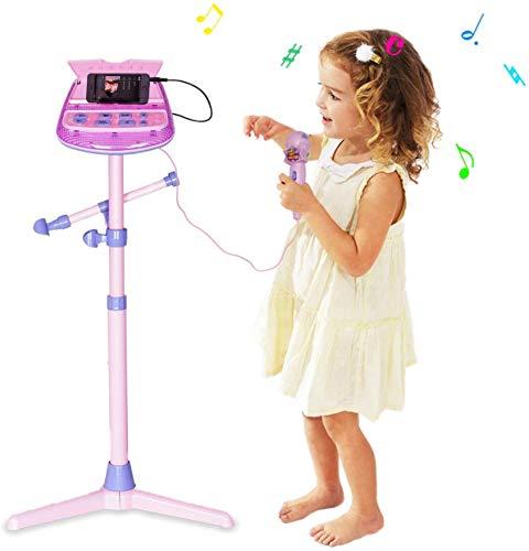 Kinder Karaoke Mikrofon Verstellbarer Standfuß mit externer Musikfunktion & Blinkleuchten von Wishtime - 2