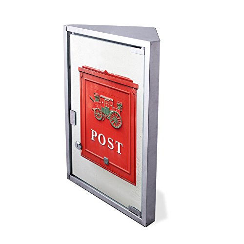 Preisvergleich Produktbild Edelstahl Medizinschrank Eckschrank abschließbar 30x17,5x45cm Badschrank Hausapotheke Arzneischrank Bad Postkasten Nostalgie