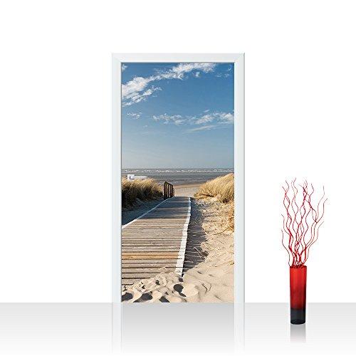 Plus Tür (Türtapete selbstklebend 100x211 cm PREMIUM PLUS Tür Fototapete Türposter Türpanel Foto Tapete Bild - NORTH SEA DUNES - Strand Meer Nordsee Ostsee Beach Wasser Blau Himmel Sonne Sommer - no. 038)