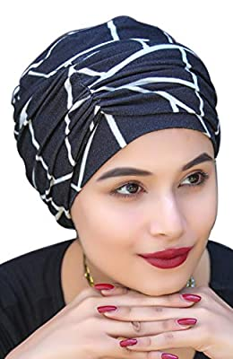 The Headscarves Women's Set of Cap with Rouched Band in Bamboo Geometrical (Black and White, Free Size)