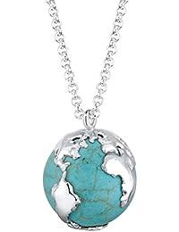 Elli Damen-Halskette Globus Howlith 925 Silber 70 cm - 0102452613_70