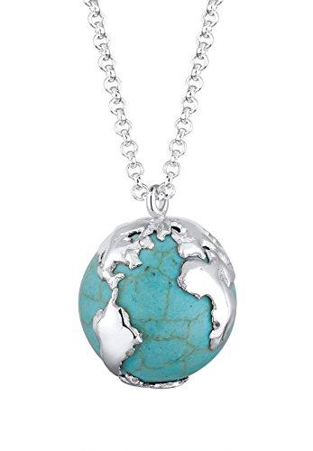 Elli Halskette Damen mit Weltkugel synthetischer Howlith Anhänger in 925 Sterling Silber