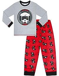 Pijama largo de 9 a 15 años para niños I Can't Hear You I'm Gaming Skull rojo gris