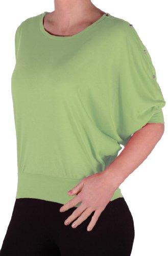 EyeCatch - T-Shirt clous manche chauve souris - Femme - Taille Unique Light Vert