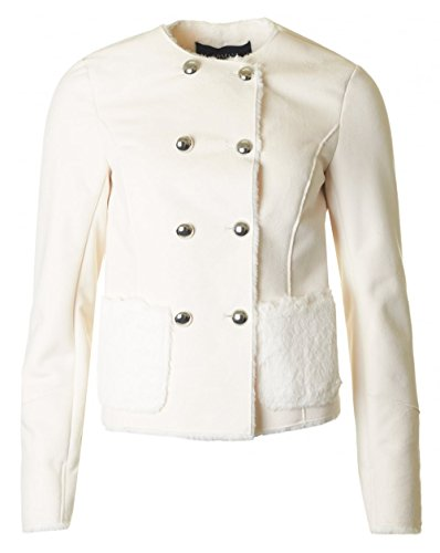 Armani Jeans Double Breasted Shearling Jacket UK 10 CREAM (Double Breasted Jeans)