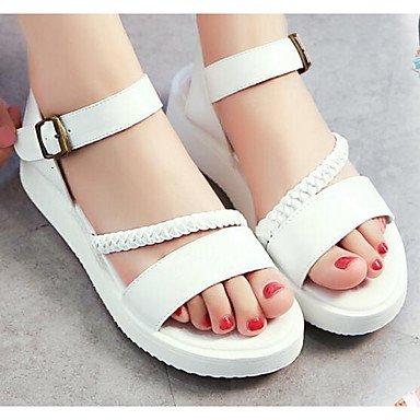 SANMULYH Scarpe Donna Pu Primavera Estate Comfort Sandali Di Abbigliamento Casual Bianco Argento Bianco