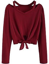 b343e3220577ea Outdoor Pullover Amuster Damen Hoodie Sweatshirt Fliege Hohle Loch Bluse Sweater  Lange Ärmel Heavy…