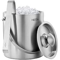 Netta 2litre double paroi en acier inoxydable Seau à glace bac à glaçons avec pinces et couvercle