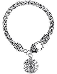 Dawapara Religioso Dios egipcio de ojo de Horus con la escritura de antiguo Egipto colgante pulsera de cadena de trigo