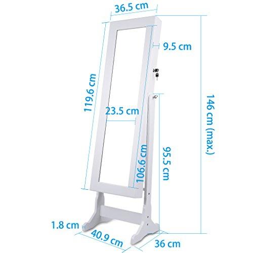 LANGRIA Schmuckschrank Spiegelschrank Schmuckregal Winkel Einstellbar Schmuckkasten (Type 1) - 5