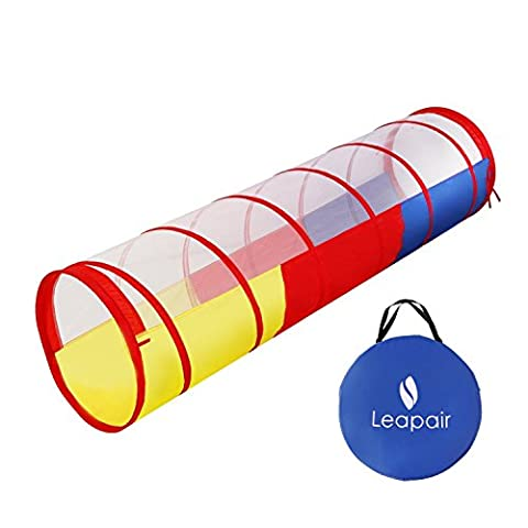 WolfWise Pop-up Play Tent Tunnel Babies & Children Tunnel Kids Adventure Discovery Toy Tube Indoor or Outdoor Use, 180 x 48 x 48 cm,