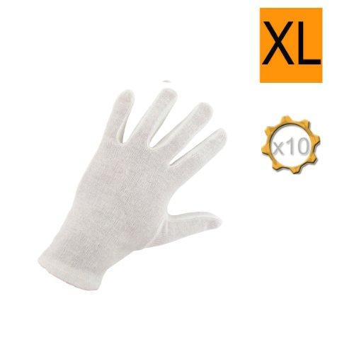 Pack de 10 paires de gants coton blanc Taille XL/10 EP 4150