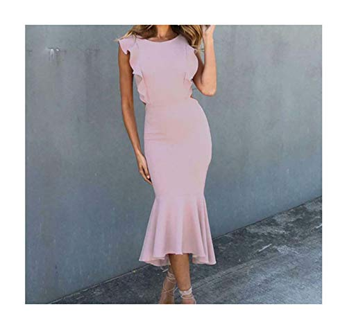 Women Formal Backless Evening Party Ball Prom Gown Long Bodycon Cocktail Dress Pink S