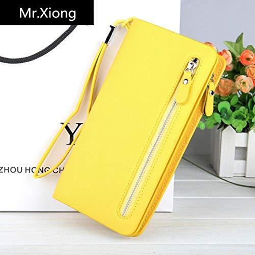 Detail Zip Wallet (Mr. Xiong Damen Sichere Schutz Qualität Soft Leder Leather Geldbörse Multi Kreditkarte Frauen Clutch Wallet mit Zip Pocket Geschenk,Yellow)