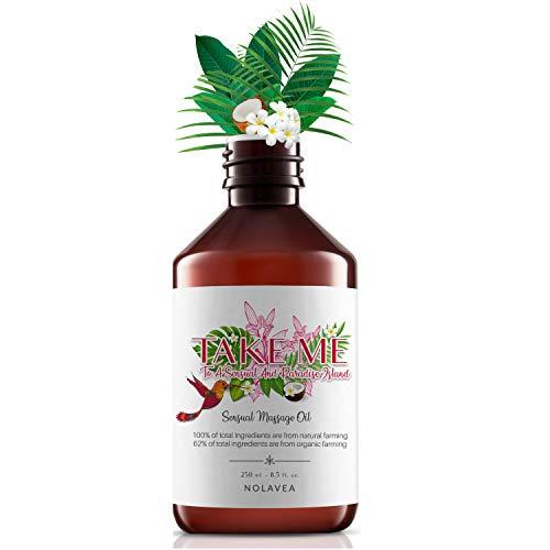 Aceite de Masaje Sensual 250ml -  Aceites Esenciales para el Cuerpo,  Masaje Intimo -  Absorción Lenta -  Aroma Monoï,  Ricino,  Coco,  Vainilla,  Fabricado en Francia