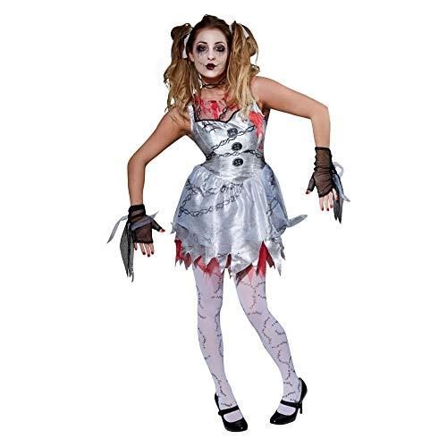 B-kreative Frauen-Mädchen gebrochen Rag Raggy Doll Annabelle Zombie Halloween Fancy Kleid (Tote Puppe/Erwachsene/große)