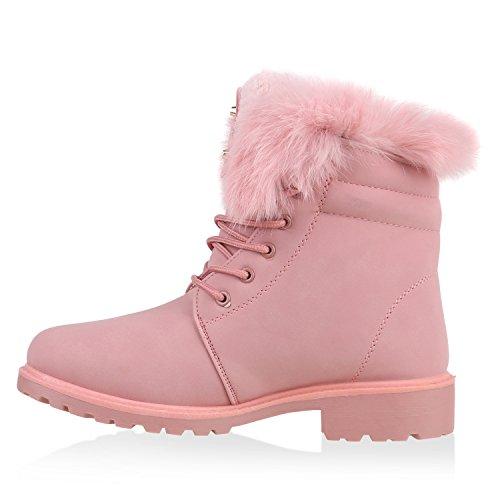 Warm Gefütterte Worker Boots Damen Outdoor Stiefeletten Bequem Rosa Gold