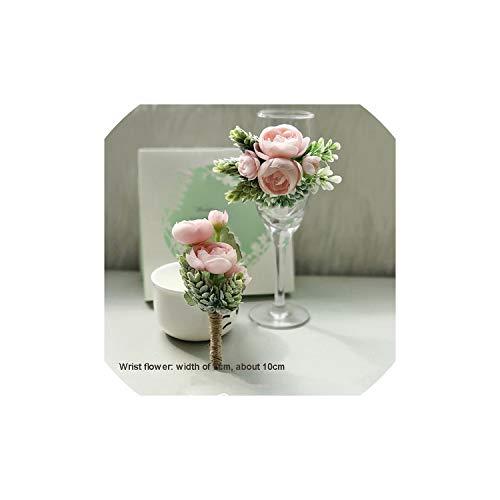 Tiamo Violet Rose Pink Handgelenk Corsagen Armband-Blumen-Brautjungfer Bräutigam Blume im Knopfloch, Typ 4 Corsage -