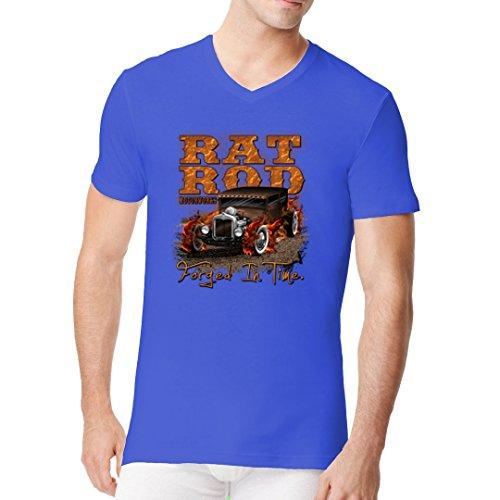 Hot Rod Männer V-Neck Shirt - Hot Rod Motiv, Rat Rod Motorworks by Im-Shirt Royal
