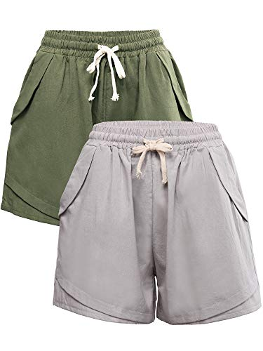 Geyoga 2 Stücke Damen Tunnelzug Shorts Elastische Taille Baumwolle Leinen Shorts Beiläufig Strand Shorts Jersey Shorts mit Tunnelzug (Farbe Set 1, XL) -