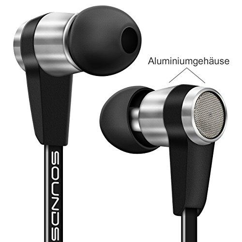 deleyCON SOUNDSTERS S20-M In-Ear Kopfhörer mit Mikrofon – 3,5mm Klinken Stecker 90° gewinkelt – hochwertige Sound- und Sprachqualität – innovatives Headset / Kopfhörer / Orhörer mit Mikrofon – Schwarz - 3