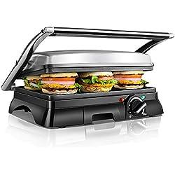 Aigostar Samson 30KLU - Appareil à croque monsieur, grill à sandwich et panini multifonctions. Très larges plaques antiadhésives et ouverture à 180º. Bac à graisse amovible. Acier inoxydable, 2000W, argenté. Design exclusif.