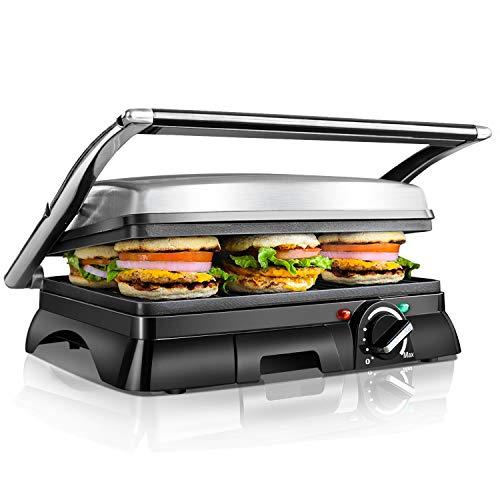 Aigostar Samson 30KLU- Griglia multifunzione per panini, panini maker, 29.5 * 23.5cm. - 2 Piatti grandi antiaderenti, acciaio inossidabile, 180 gradi, regolatore di temperatura, vassoio raccogli briciole estraibile, 2000 W, argento. Design esclusivo...