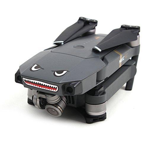 O\'woda 2 Sätze Drone Körperhaut Kühles Haifisch-Gesicht 3M Aufkleber Aufkleber mit Batterie Nummer Aufkleber für DJI Mavic Pro Spark / Mavic 2