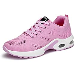 Zapatillas Deportivas de Mujer Air Cordones Zapatillas de Running Fitness Sneakers 4cm Negro Rojo Rosado Púrpura Rosado 41