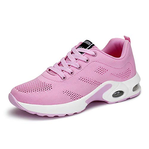 Womens Ladies Trainers Running Fitness Air Sneakers Athletic Lace up Sports Shoes Black Pink Purple Red 4cm 35 40 Pink 42