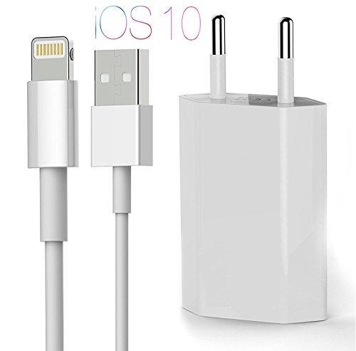 OKCS ORIGINALS - 1A Netzteil + 1M Ladekabel für Apple iPhone 8, 8 Plus, X, 7, 7 Plus, 6, 6 Plus, 5, 5s, 5c, iPod Touch 5 G., iPod Nano 7 G., iPad Mini, iPad 4, iPad Air - in Weiß