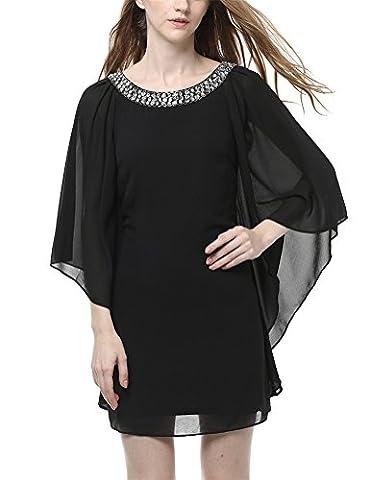 MILEEO Damen Chiffon Kleid Kurz mit Strassverzierung Fledermausärmel Cocktailkleid Elegant,Schwarz Gr.40