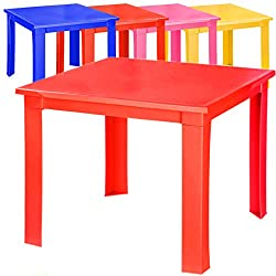 Kids Children Plastic Table Strong Folding Table High Quality Suitable for Outdoor Side Table (Red)