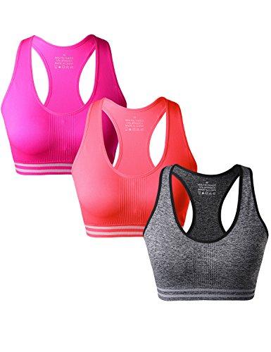 Match Damen Draht Nahtlose Gepolsterte Racerback Sport-BH fuer Yoga Workout Gym #006 1 Paket von 3(B Orange-Grau-Pflaume)