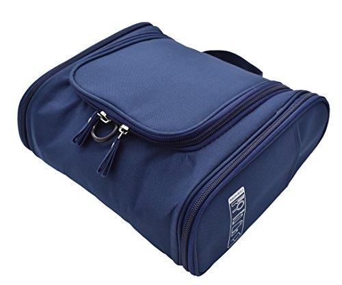 Trousse Vanity Case de toilette avec plusieurs poches Grand Deluxe 11 x 24 x 20 cm, 600D Oxford doux au toucher, idéal Voyage personnel. Bleu marine, fermetures éclair épaisses et poches latéra