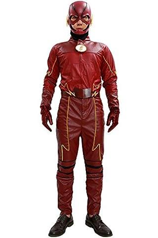 Halloween Superhero Outfit Rot PU-Leder Cosplay Kostüm Erwachsene Fancy Dress Kleidung Herren Anzug Jacke (Barry Allen Halloween-kostüm)