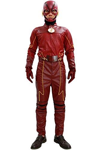 Barry Allen Kostüm Halloween (Halloween Superhero Outfit Rot PU-Leder Cosplay Kostüm Erwachsene Fancy Dress Kleidung Herren Anzug Jacke)