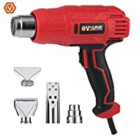 Vollplus Corded Electric Heat Gun and 4 Nozzles 2000W Hot Air Gun 2 Modes Adjustable for Shrink Wrapping, Soldering, Paint Stripping, Tube Bending, BBQ(Charcoal Heating), Heat Protection VPHG1019 .