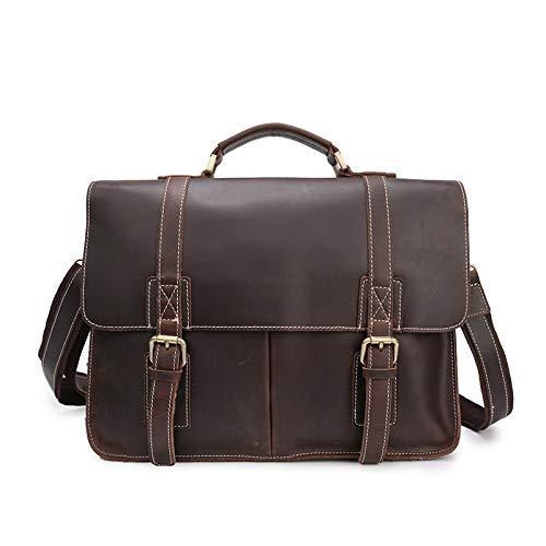 LMCLJJ Vintage handgefertigte Leder-Umhängetasche for Laptop-Aktentasche Best Computer Satchel School Distressed Bag - Distressed Satchel