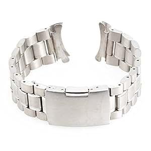 24mm Bracelet de Montre Rechange Acier Watch Strap Boucle Déployante Argenté