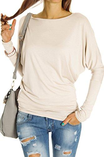 Bestyledberlin Damen Top Shirts, Longshirt Oberteil Langarmshirt Fledermaus langarm t67p Beige