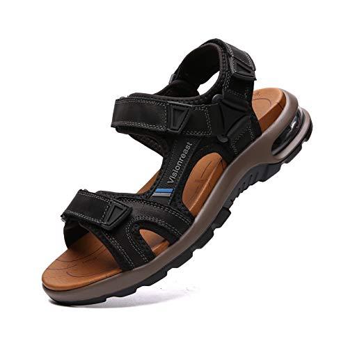 visionreast Herren Outdoor Sports Sandalen Trekking Leichte Leder Strand Wandersandalen Männer Sommer Klettverschluss Offroad Sandale Schuhe Waterproof, Schwarz1, 44 EU